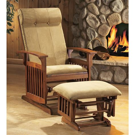 living room glider mission style glider rocker with ottoman oak finish 20439 living room at sportsman s guide