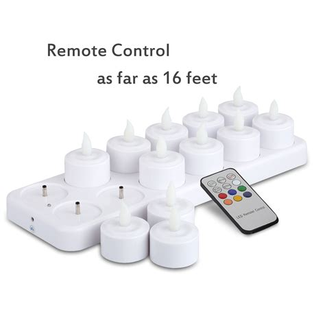 remote tea lights 12 rechargeable led candle lights flameless tea light