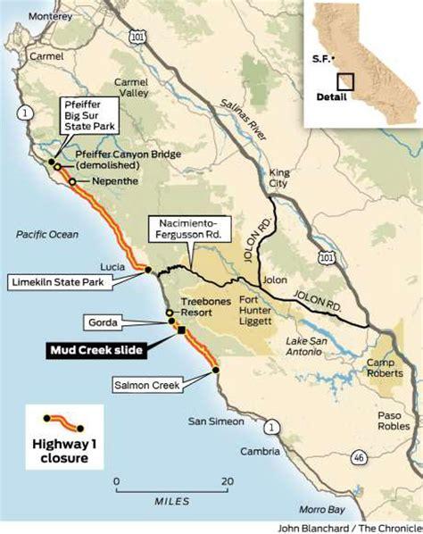big sur map highway 1 conditions in big sur california