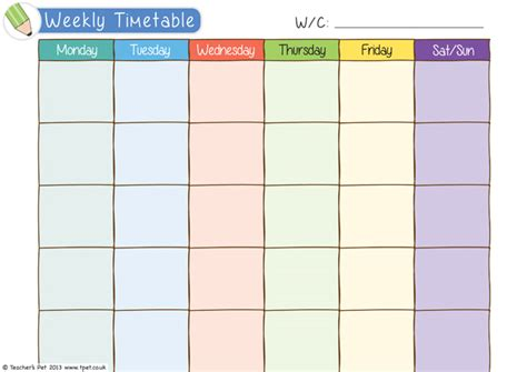 blank calendar template ks1 teacher s pet weekly timetable free classroom display