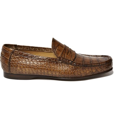 crocodile leather loafers ralph alligator leather loafers in brown for