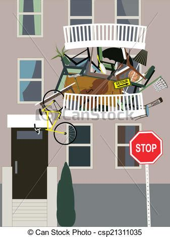 Vectors of Hoarder   A balcony in an apartment building