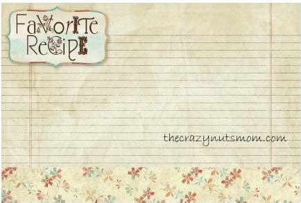 Primitive Recipe Card Template by Printable Recipe Cards Just Me