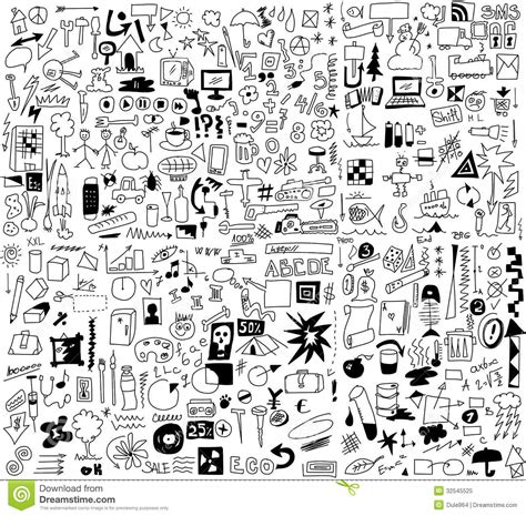 doodle fill free simplified design elements doodle icons stock illustration