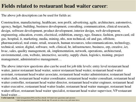 top 10 restaurant waiter questions and answers
