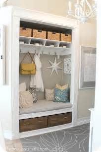 turning a coat closet into a mudroom like nook hooked on houses