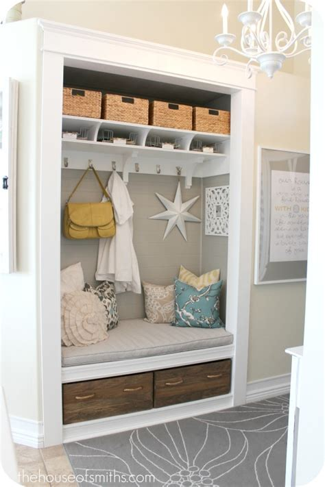 foyer nook ideas turning a coat closet into a mudroom like nook hooked on