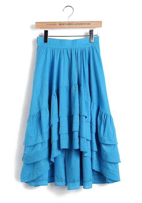 light blue cascading ruffle high low cotton blend skirt