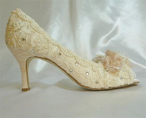 Wedding Shoes Ivory Lace by Low Heel Wedding Shoes Vintage Lace Shoes Blush And