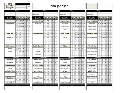 bronze strength conditioning templates excel