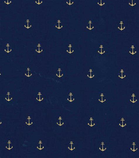 Joann Home Decor Fabric by Keepsake Calico Cotton Fabric Metallic Anchor Navy Gold