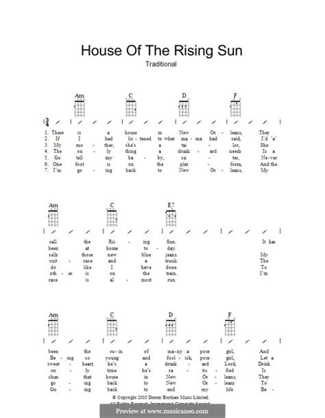 strumming pattern house of the rising sun house of the rising sun by folklore sheet music on musicaneo