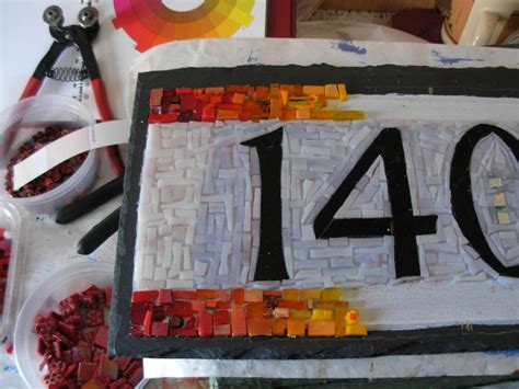 mosaic house number designs rainbow mosaic house number in progress by nutmeg designs margaret almon