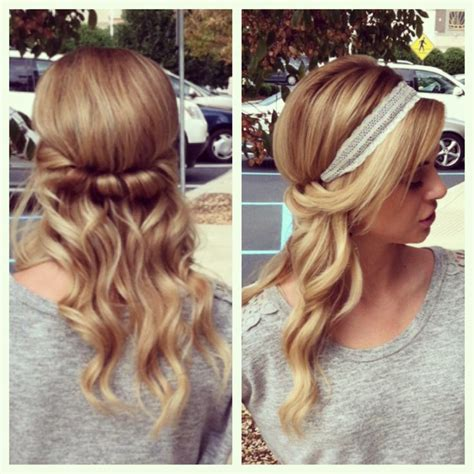 headband hairstyles easy hair tucked twisted with headband hair pinterest