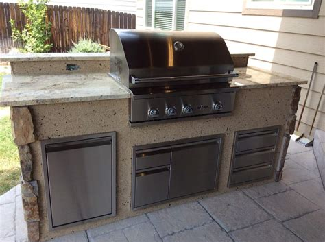 outdoor kitchen appliances reviews outdoor kitchen with mixed stone veneer and stucco hi