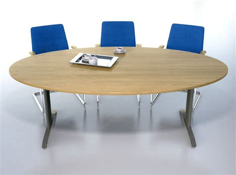 White Oval Meeting Table Centaur T Base Conference Table