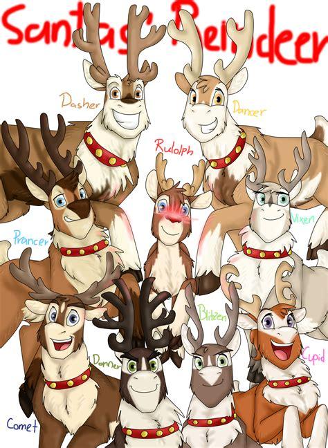 best art of santa and eight teindeer santa s reindeer by namygaga on deviantart