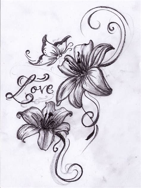 lily butterfly tattoo designs 61 flowers tattoos collection