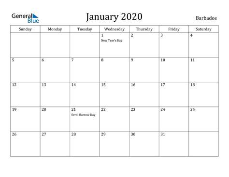 january  calendar barbados