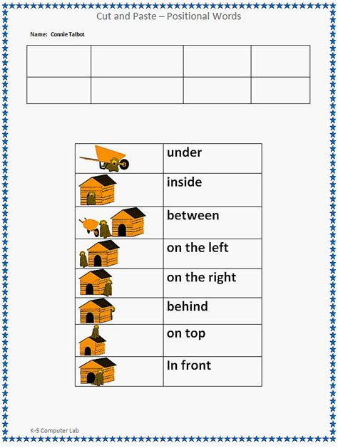Preschool Positional Words Worksheets by 19 Best Images About Positional Terms On
