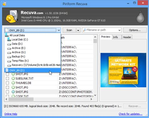 recuva data recovery software full version recuva now recovers data from unmounted drives iso