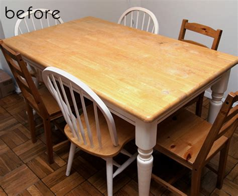 Dining Room Table Refinishing Before Amp After Jamie Brad S Kitchen Tables Design Sponge