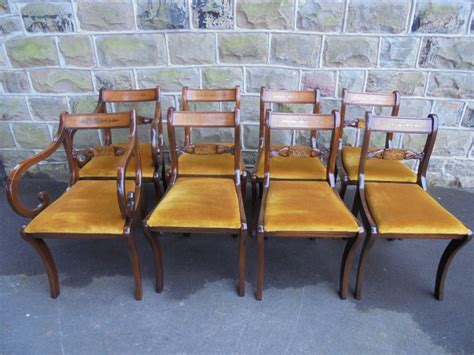restaurant style bench seating good set 8 inlaid mahogany regency style dining chairs