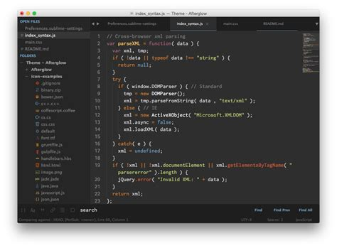 sublime text 3 orange theme theme afterglow packages package control