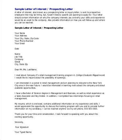 letter of interest template for a 6 sle letter of interest free sle exle