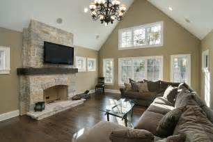 vaulted ceiling fireplace 33 living room designs with beautiful woodwork throughout