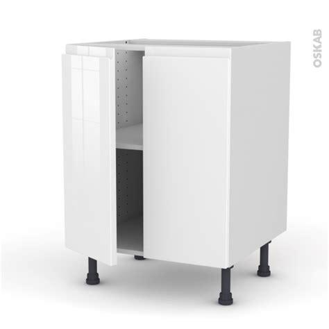 meuble de cuisine blanc brillant meuble de cuisine bas ipoma blanc brillant 2 portes l60 x