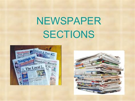 sections in newspapers newspaper sections
