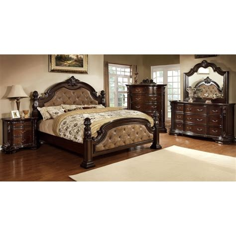 free bedroom sets furniture of america kassania luxury 4 piece leatherette