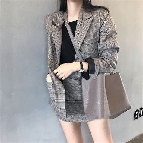 itgirl shop plaid jacket    skirt set office style