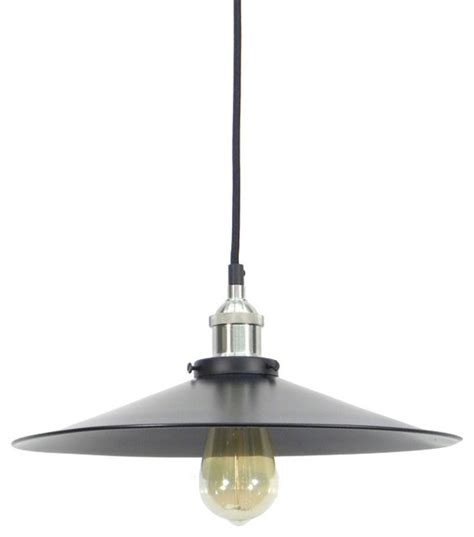 Pendant Lights Houzz Shop Houzz Hangout Lighting Nickel Black Large Flat Shade Pendant Light Pendant Lighting