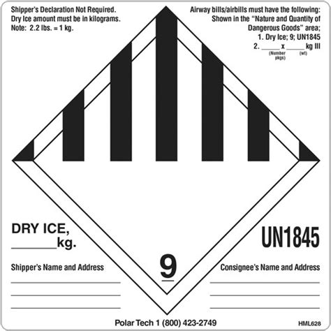Printable Dry Ice Label | item hml628 dry ice on polar tech industries inc
