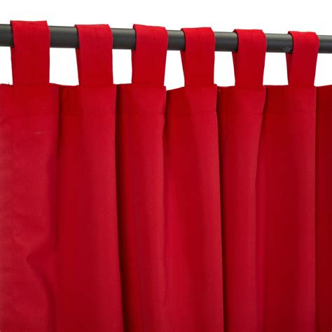 red outdoor curtains canvas jockey red sunbrella outdoor curtains with tabs