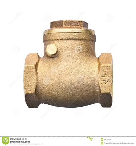 bronze swing check valve bronze swing check valve isolated on white backgro royalty