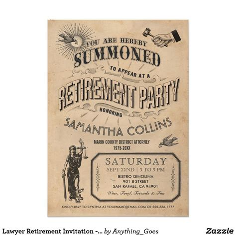 retirement invitation lawyer retirement invitation vintage retro