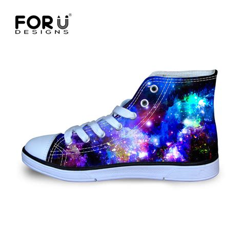 flat top shoes cool galaxy space canvas sports shoes flat high