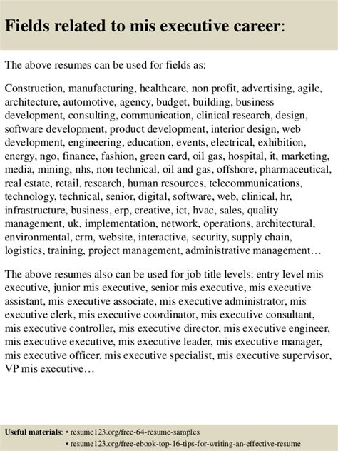 resume format for mis executive telecom top 8 mis executive resume sles