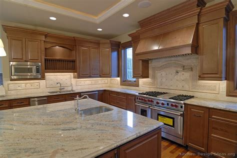 Kitchen Backsplash Pictures Of Kitchens Traditional Medium Wood Cabinets