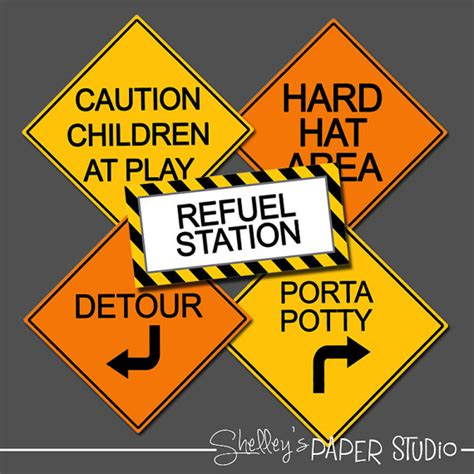 free printable road construction signs construction birthday road signs