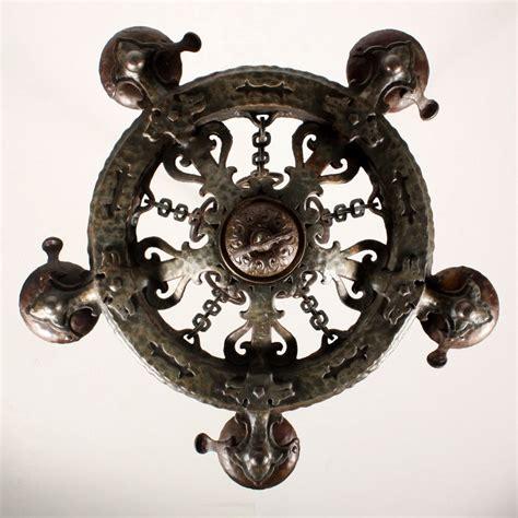 Antique Cast Iron Chandelier Remarkable Antique Five Light Cast Iron Tudor Chandelier By Virden Nc1137 Rw For Sale