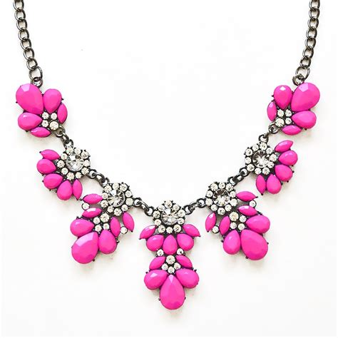 pink necklace bib necklace pink floral necklace made of