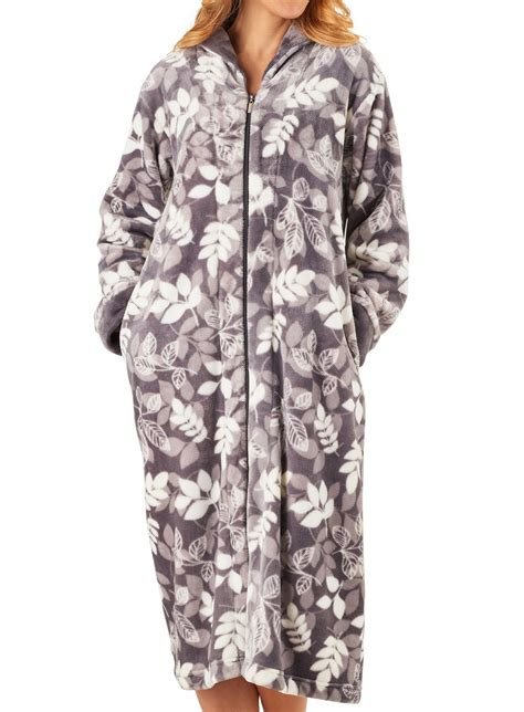 Pattern For Zip Up Dressing Gown | slenderella ladies zip up dressing gown super soft leaf