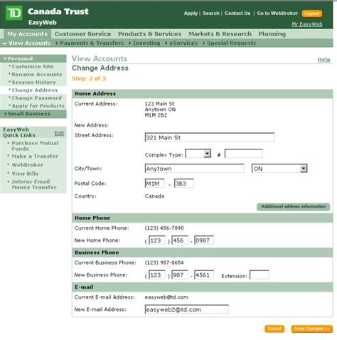 td bank mailing address easyweb tour small business banking change address
