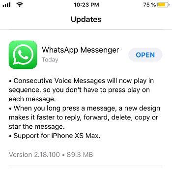 whatsapp messenger updates  support  iphone xs max