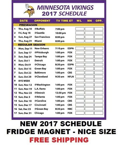Vikings Schedule 2018 Printable