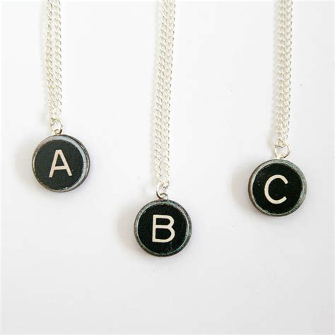 initial typewriter key wooden necklace by ladybird likes